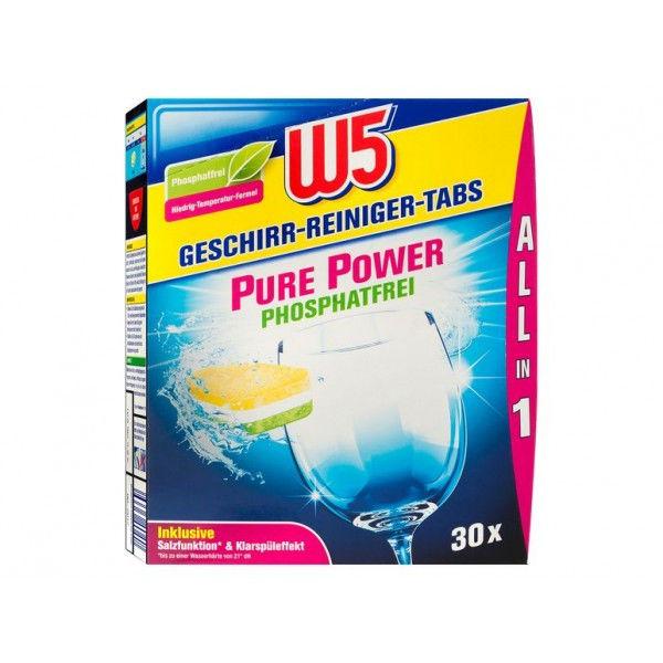 Таблетки для посудомоечной машины W5 Pure Power Phosphatfrei, 30 шт