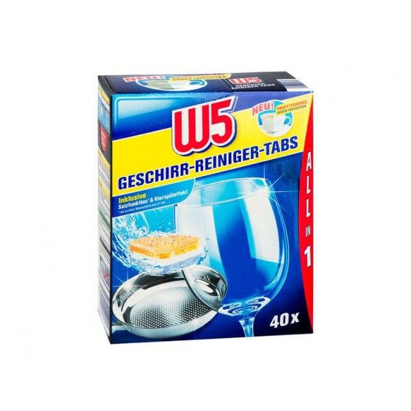 Таблетки для посудомоечной машины W5 All in 1, 40 шт